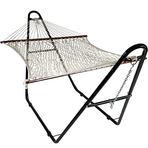 Sunnydaze Cotton Double Wide 2-Person Rope Hammock with Spreader Bars and Multi-Use Steel Stand, 450 Pound Capacity