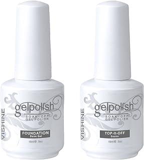 Vishine Long Lasting Soak Off Gel Nail Polish Base + Top Coat Set Gel 15ml