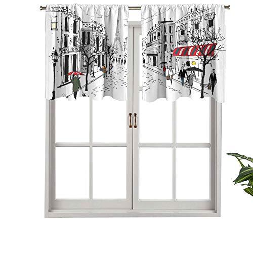 Hiiiman Cenefa de ventana de privacidad interior, panel de cortina de peatones franceses antiguos, almacena árboles la silueta, juego de 1, 91,4 x 45,7 cm para puerta corredera de patio o comedor