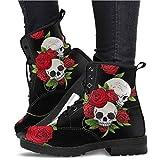 Botas Impermeables con Cordones de Punta Redonda para Mujer, Botas de Motorista con Estampado de Calavera de Zapatos de Cuero Retro de Moda (Color : Black, Size : 43)