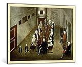 kunst für alle Bild mit Bilder-Rahmen: König von Preußen Friedrich Wilhelm I. Das Tabakskollegium - dekorativer Kunstdruck, hochwertig gerahmt, 95x70 cm, Gold gebürstet