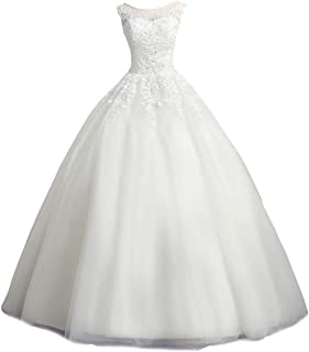 Women's Scoop Neck Ball Gown Wedding Dress Lace Bridal Gown WBD10
