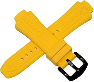 24MM Yellow Silicone Rubber Watch Strap & Black Stainless Buckle fits 44mm Neptune Watch