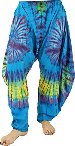 Guru-Shop Batikhose Aladinhose, Yogahose, Pluderhose Pumphose, Damen, Blau, Synthetisch, Size:38, Pluderhosen & Aladinhosen Alternative Bekleidung