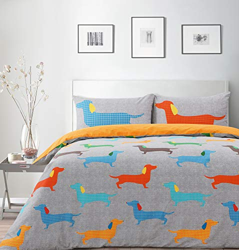 Velosso Sausage Dog Dachshund Reversible Duvet Cover with Pillowcases Bedding Set (Double)