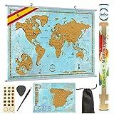 TRAVELORUM Mapa Mundi de Rascar en Español + KIT PARA COLGAR + Mapa de España con Provincias