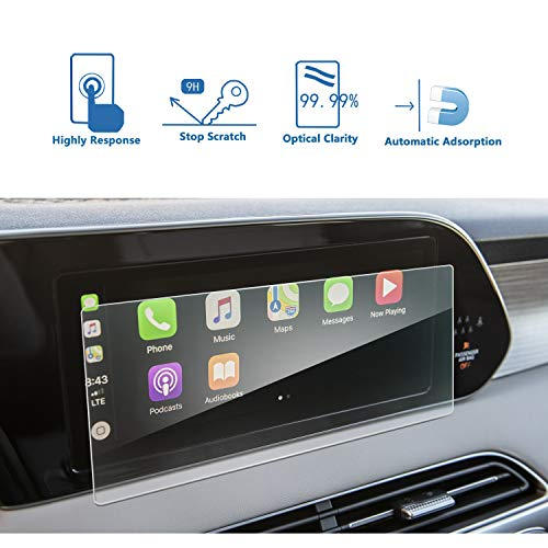 LFOTPP Car Navigation Screen Protector for Palisade 2020 2021+ 10.25-inch Kona 2019+, Tempered Glass 9H Hardness Car Infotainment Stereo Display Center Touchscreen Protective Film Scratch-Resistant