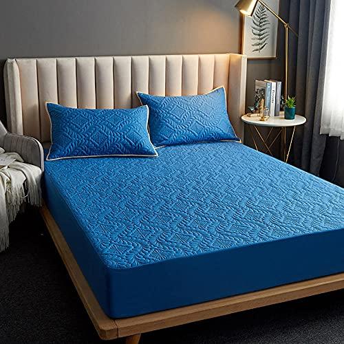 FJMLAY Sábana Bajera Ajustable elástica,Sábana Bajera Acolchada Impermeable, Almohadilla Protectora para Dormitorio Apartment-Blue_4_150cmx200cm_