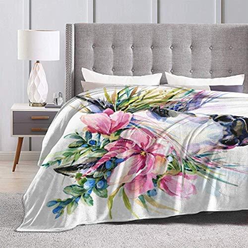 Cobija de felpa suave con diseño de flores de acuarela, de color rosa y amarillo, suave manta de franela de forro polar para dormitorio, sala de estar, 152 x 127 cm