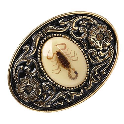 Hellery Moda American Western Cowboy Scorpion Cinturón Hebilla para Hombres Oro Antiguo