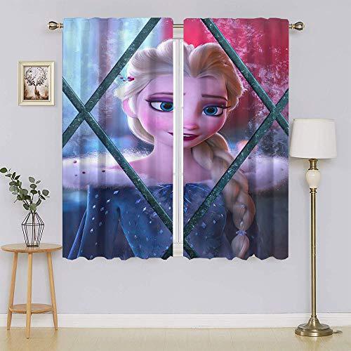 Cortinas opacas con póster de película de Frozen para ventana, cortinas opacas de microfibra que reducen el ruido y aislamiento térmico eficiente de energía para sala de estar de 196 x 1177 cm