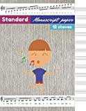 Standard Manuscript Paper for kids, Brown wall texture background, brown wallpaper cover, 12 staves per page, 100 pages - Large(8.5 x 11 inches)
