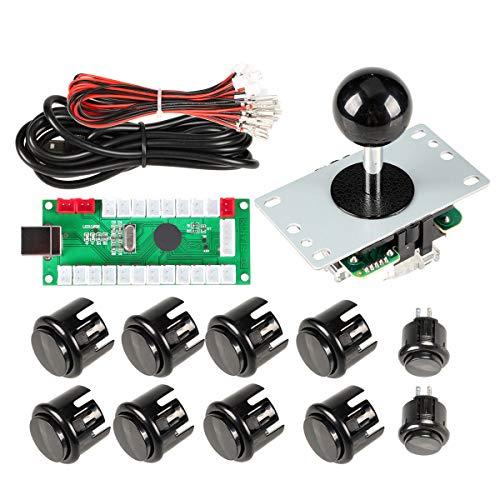 EG STARTS Arcada Parte del Kit de la manija de Bricolaje USB Encoder para PC Juegos 5 Pin Joystick 24mm 30 mm Botones para Arcade Gabinete Mame & Raspberry pi 2 3B Model Project (Negro)