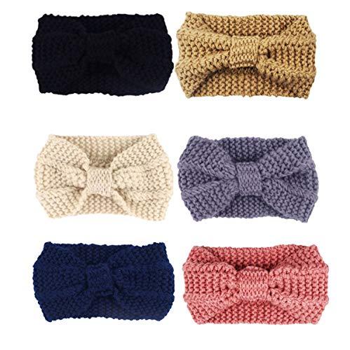 DRESHOW Damen Stirnbänder Kopfwickel Haarband Bögen Zubehör Fliege Schleife Gestrickte Verdrehte Weiche Turban Kopf (6 Pack Style CC)