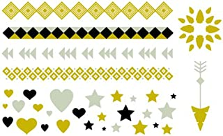 Metallic Gold, Silver and Black Temporary Tattoo Party Set - Hearts, Stars, Arrow, Mandala & Multiple Wraps - Friend Gift - Body Art - Party Favor - 33 Individual Tattoo Designs - 66 Tattoos Total
