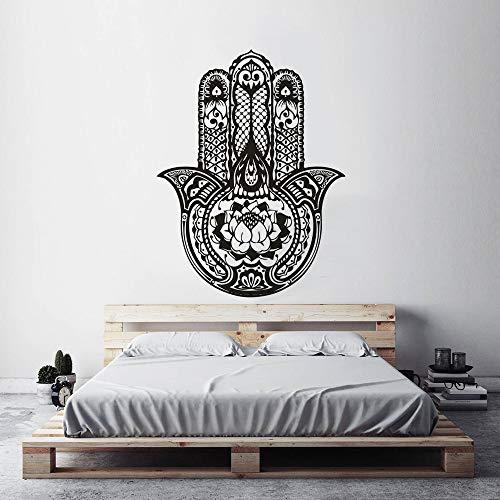 Geiqianjiumai Lotus Design Hand Wandaufkleber Wohnaccessoires Fatima Hand Buddha Hand Wanddekoration Vinylwand 43cm x 57cm