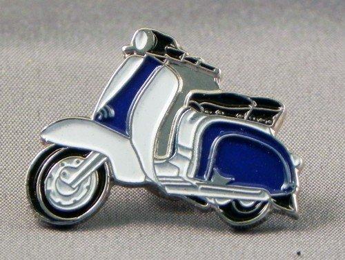 Broche en métal émaillé Motif Scooter Lambretta &blanc Bleu