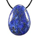 Morella Collane da donna 80 cm con pendenti di gemma pietre preziose a forma di goccia Lapislazzuli in sacchetto di velluto