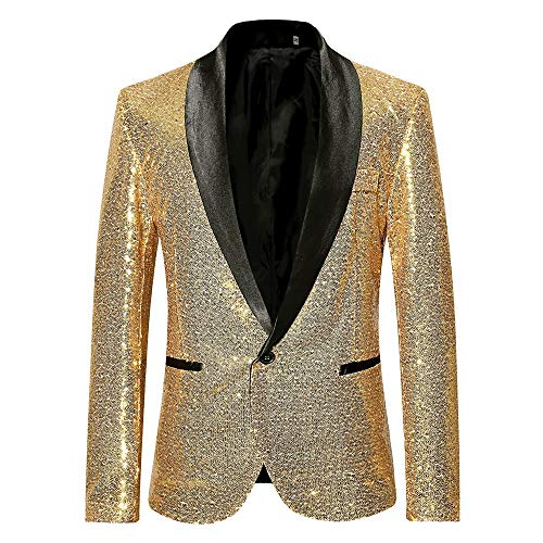 Men's Blazer Party Club Luxury Sequins Solid Colored Long Sleeve Blazer Black/Wine/Gold S/M/L