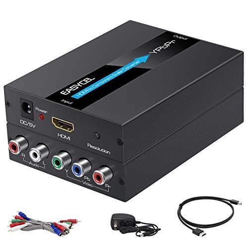 Convertitore Scaler da HDMI a Componente, EASYCEL Convertitore da HDMI a YPbPr, Convertitore da HDMI a RGB 5RCA (Include cavi HDMI e Componente, Alluminio)