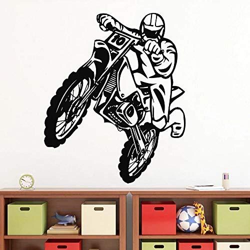 HGFDHG Motorcykel bakhjul väggklistermärke baby pojke sovrum sängbord bakgrundsdekoration motorcykel extremsport vinyl väggdekal