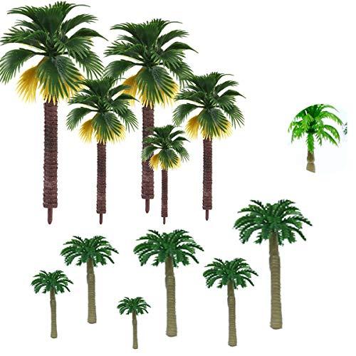 Xumier 27pcs Palmera Artificial decoración de Pasteles árbol de Palma Bricolaje Artesanal Plástico Coconut Palm Miniatura macetas Bonsai Craft Plástico árbol de Palma de Coco Paisaje de Mesa de Arena
