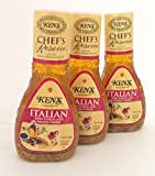 Ken's Steak House Chef's Reserve Italian Dressing with Garlic & Asiago Cheese (Pack of 3) 9 oz...