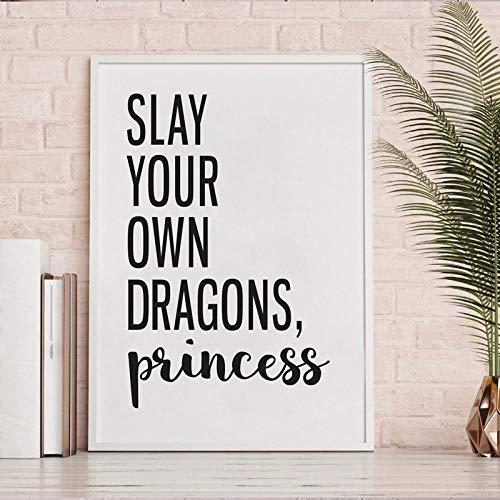 Póster de arte de feminismo con impresión de cita de niña, mata a tus propios dragones, citas de princesa, pintura en lienzo, regalo para dama, jefe, decoración de habitación 50x70cm, sin marco
