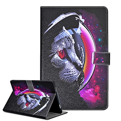 Funda para Samsung Galaxy Tab A6 10.1'' 2016 Carcasa PU Cuero SM-T580 / T585 Flip Protector de Cartera Cover Estuche con Función de Soporte para Galaxy Tab A 10.1 Pulgada 2016, Gato Espacial