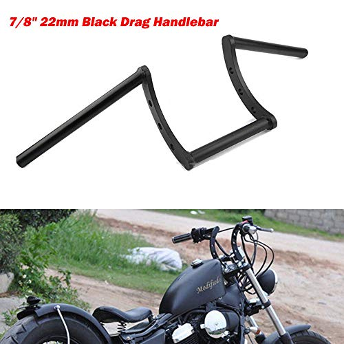 Qiyun Manillar Moto, puños Manillar DE 7/822mm para Dragster z-Bar dragback para Harley Honda Soporte Moto Negro