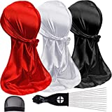 3PCS Silky Durag and Waves Cap Packs, Long Tail Wide Straps Doo rag with Mesh Stocking Cap for Wavers, Fashionable Satin Headwraps for Men and Women, Award 1 Afro Hair Pick (Style-B)