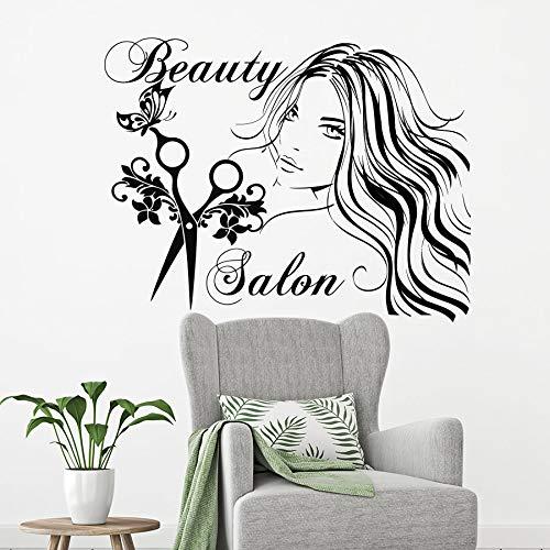 Peluquería tatuajes de pared salón de belleza vinilo ventana pegatinas de pared tijeras mariposa moda salón de belleza art deco mural