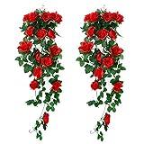 XONOR 2 Pezzi Piante Artificiali appese - Fiori di Seta Rosa Finti appesi Ghirlanda Rattan Ivy Vine per la Decorazione della Parete del Giardino di Festa di Nozze