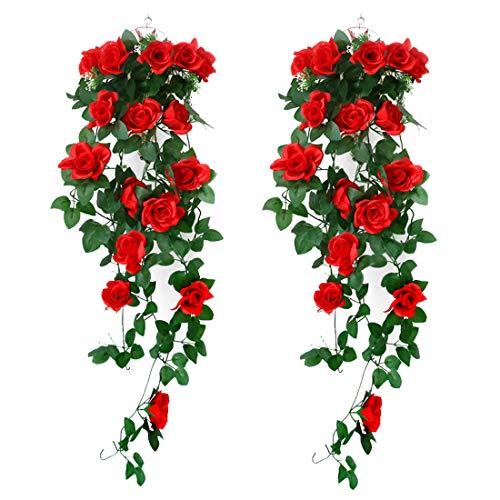 XONOR 2 Unidades Artificiales Plantas Colgantes - Falsas Flores de Seda Rosa Colgando Guirnalda de ratán Hiedra para la Fiesta de Bodas jardín decoración de la Pared (Rojo, 2)