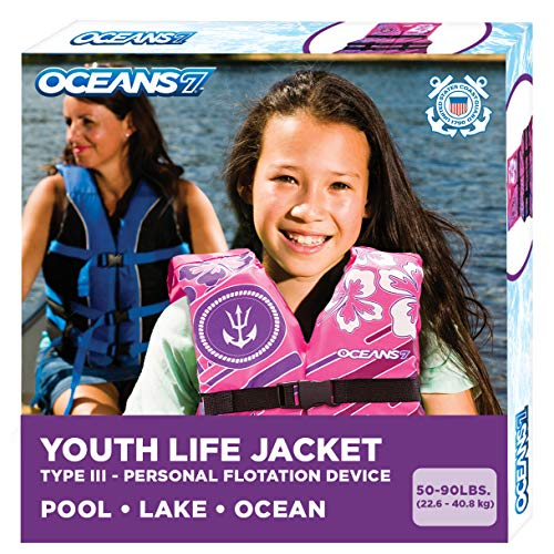 New & Improved Oceans7 US Coast Guard Approved, Youth Life Jacket, Flex-Form Chest, Open-Sided Design, Type III Vest, PFD, Personal Flotation Device, Pink/Berry