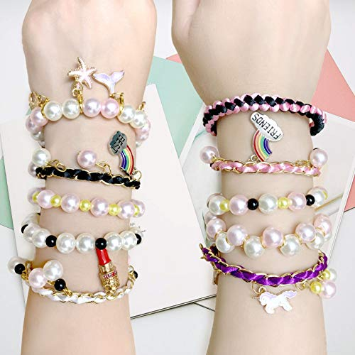 Gocelyn DIY Bracelet Charms Making Kits, Art and Crafts Kits with Jewelry Making Faux Pearl Beads for DIY Craft Necklaces Bracelets Handmade Charms Jewelry Gift for Adults and Girls