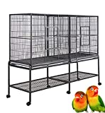"""【Spacious Double Flight Breeding Bird Cage】 Size: 63""""Length x 19""""Depth x 64""""Height With Slide Out Center Divider. Able to Use As One Single Extra Large Cage. Durable Wrought Iron Frame construction , Heavy Duty Stand with Casters 【Bird Safe Non-Toxic..."""