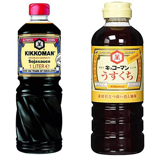 Kikkoman Soja-Sauce - 1000 ml & Usukuchi Shoyu (1 x 500 ml)