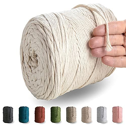 MeriWoolArt Natürliches Makramee garn - 225 m superweiche Makramee Schnur mit 4 mm Einfachdrehung - Neue Qualität aus recycelter Baumwollegarn und Viskose (Natürliche Farbe)
