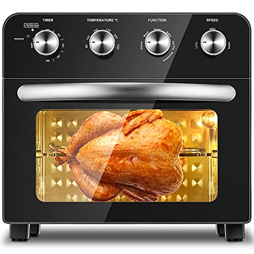 Air Fryer Toaster Oven, 23 L Convection Mini Oven with Grill and Rotisserie Function, Adjustable Temperature Control (80℃-230℃), Non-stick Interior Easy to Clean, 6 Accessories, Black