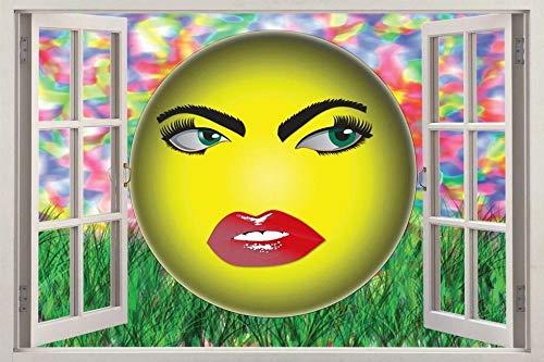HUGF Wall Sticker Emoji Smiley 3D Window Decal Wall Sticker Home Decoration Art Mural