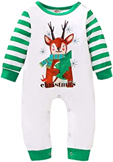 Toddler Kids Baby Boy Girl Xmas Outfits Stripe Christmas Jumpsuit Romper Bodysuit Clothes Spring Clothes