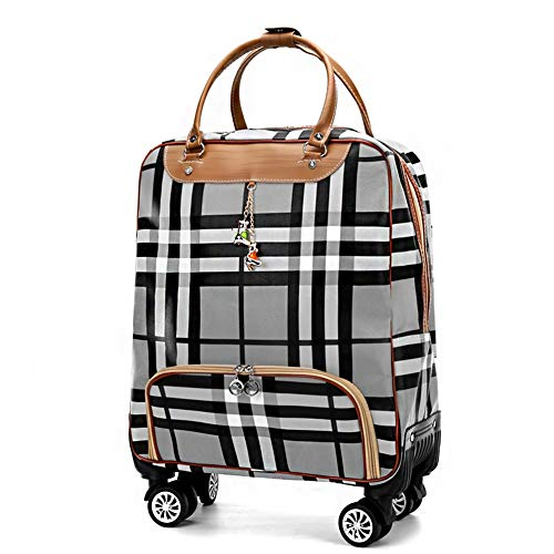 Adlereyire Trolley Bag 55 Liters,Lightweight and Waterproof Roller Bag Holdall with Wheels Functional Cabin Luggage Bag for Laptops up to 17' (Color : Gray, Size : 22-inches)
