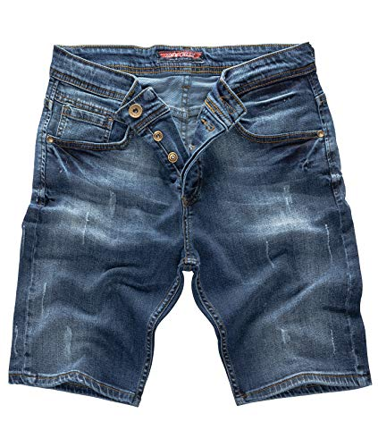 Rock Creek Herren Shorts Jeansshorts Denim Stretch Sommer Shorts Regular Slim [RC-2125 - Dark Blue W32]