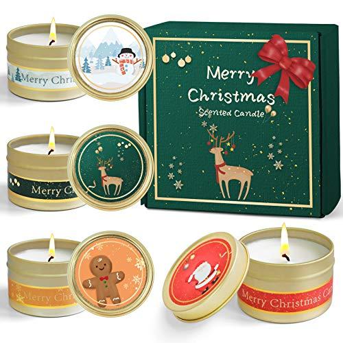 SCENTORINIクリスマス香りキャンドルギフト、大豆ワックス香りキャンドル、アロマキャンドル、4x 70g、おしゃれ 結婚式、誕生日、晚会ロマンチックな部屋の装飾品 あいさつのカード付き友人、家族、恋人へのギフト