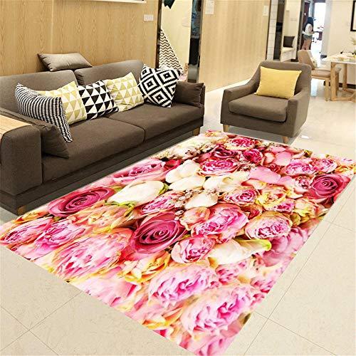 Kunsen Teppich Für Terrasse Rosa Rosen Teppich Teppich Wohnzimmer modernen Heimteppich Schallschutz...
