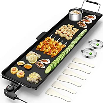 Costzon 35  Electric Teppanyaki Table Top Grill Griddle Portable BBQ Barbecue Nonstick Extra Large Griddle Electric for Camping Indoor Outdoor with Adjustable Temperature