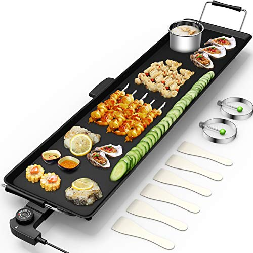 """Costzon 35"""" Electric Teppanyaki Table Top Grill Griddle, Portable BBQ Barbecue Nonstick Extra Large Griddle Electric for Camping Indoor Outdoor with Adjustable Temperature"""