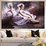 Jbclly Retrato de Danza de Ballet Abstracto Pintado a Mano Pinturas al óleo Bailarina Moderna Hecha a Mano Belleza Chica Imagen de Pared para Sala de Estar (sin Marco) A2 60x80CM