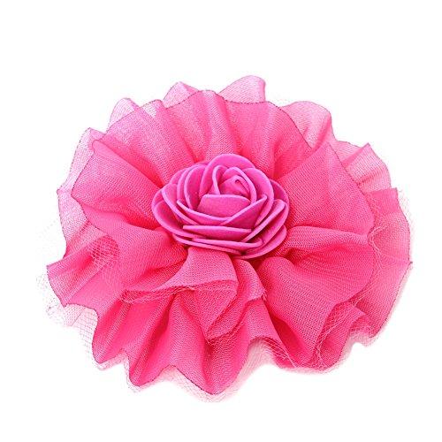 JUSTFOX - Mädchen Haarklammer Taufe Haarblume Spitze Haarschmuck Pink